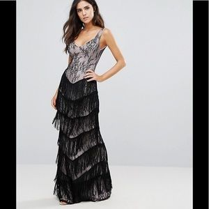 ASOS NWT City Goddess Lace Fringe Maxi Dress